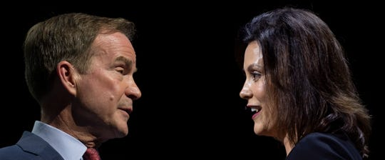 A composite picture of Michigan Gubernatorial candidates Bill Schuette, left, and Gretchen Whitmer during a meeting of the Detroit Economic Club, at the Sound Board theater at the Motor City casino, in Detroit, October 31, 2018.  (Photo illustration by David Guralnick/The Detroit News)