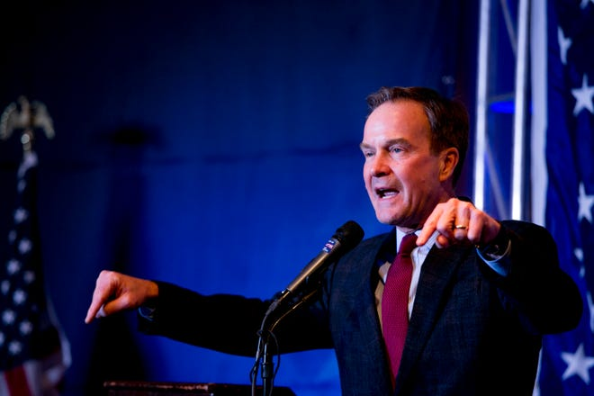 Bill Schuette campaigns at a rally for GOP candidates for office at Villa Penna in Sterling Heights, MI on November 1, 2018.
