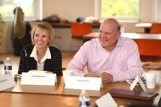Retired Microsoft CEO Steve Ballmer and his wife, Connie, speak at the Mack Avenue Community Church Development in Detroit on Friday.