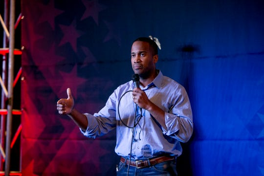 GOP U.S. Senate candidate John James talks to his supporters.