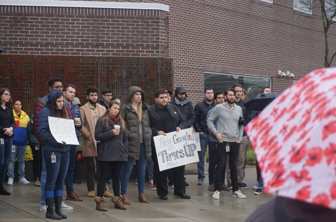 About 100 Google employees in Ann Arbor joined an international walkout Thursday, Nov. 1, 2018.