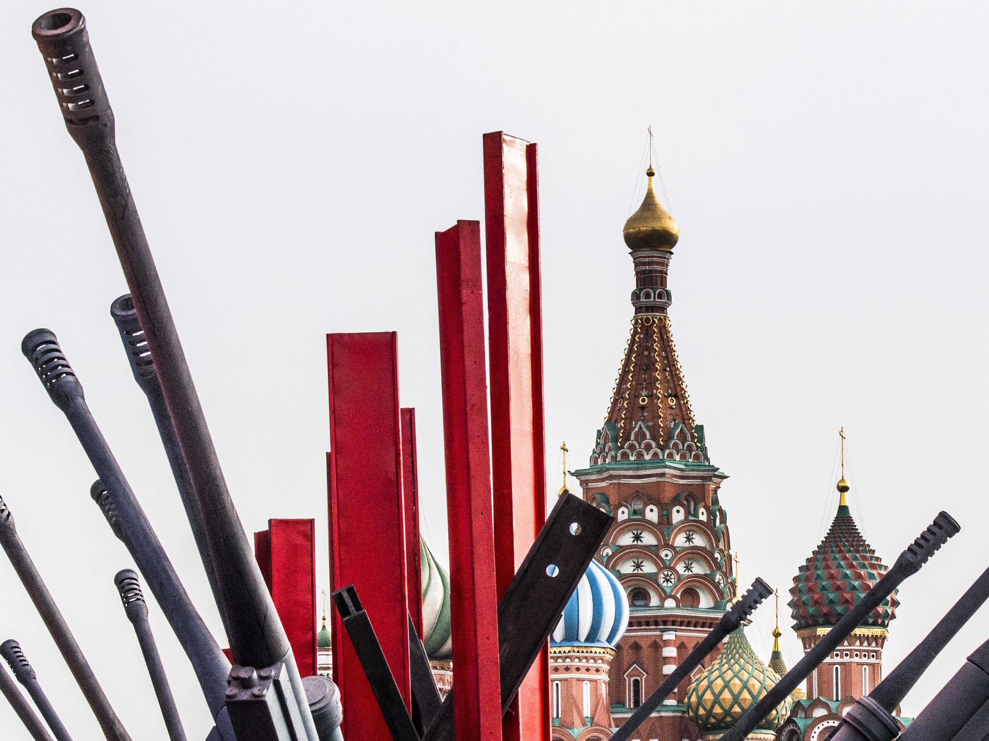 Replicas of WWII gun barrels stand on the Red Square for a military parade in Moscow on Friday, November 2, 2018. -The event marks the 77th anniversary of the 1941 historical parade, when Red Army soldiers marched past the Kremlin walls towards the front line to fight Nazi Germany troops during World War II.