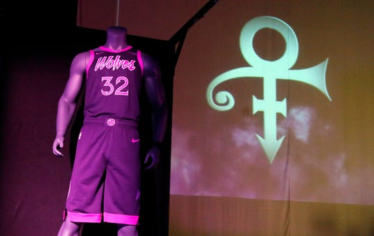 The new City Edition Minnesota Timberwolves uniform, honoring the legacy of the late rock star Prince, was unveiled Thursday in Chanhassen, Minn. The NBA basketball team is scheduled to wear the Prince-inspired uniforms eight times during the regular season. It is the fifth of six jerseys the Wolves will wear this season.