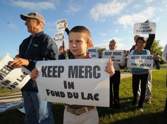 A rally held in August 2009 at Fond du Lac High School encouraged Mercury Marine union employees to vote to accept the company's final negotiated offer of reduced wages and benefits. $123 million in city, county and state incentives convinced the city's biggest manufacturer to stay in Fond du Lac.