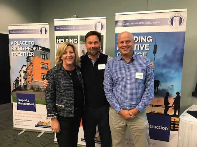 The merger of The Commonwealth Companies and Mirus Partners, Inc., took place on Nov. 1. Pictured are, from left: Mirus Partners, Inc. Chief Operating Officer Kristi Morgan, Commonwealth Companies President Louie Lange III, and Mirus Partners, Inc. President Christoper Jaye.