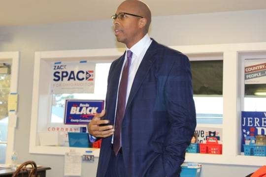 Rob Richardson, Democratic state treasurer candidate, visited the Sandusky County Democratic Party headquarters Friday and urged supporters to keep working in the last days before Tuesday's election. Richardson is running against Republican Robert Sprague for treasurer.