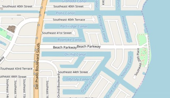 A map showing the 1700 block of Beach Parkway, where a force main break caused a sewage spill Friday.
