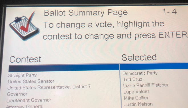 This Oct. 22, 2018, photo shows the ballot summary page of voter Leah McElrath, where although she voted a straight-Democratic Party ticket, the voting machine flipped her vote for United States Senator to Republican Ted Cruz. McElrath and some other Texas voters reported voting machines flipped their straight-ticket selections to the other party in key races during early voting. (Leah McElrath via AP)