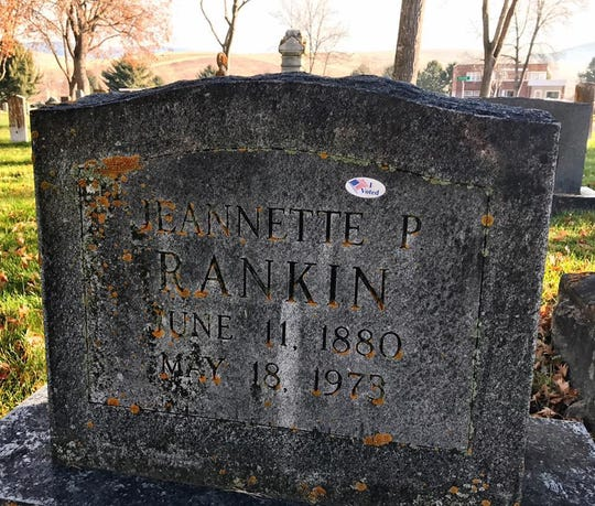 """An """"I Voted"""" sticker is on the grave of Jeannette Rankin during the 2016 election."""
