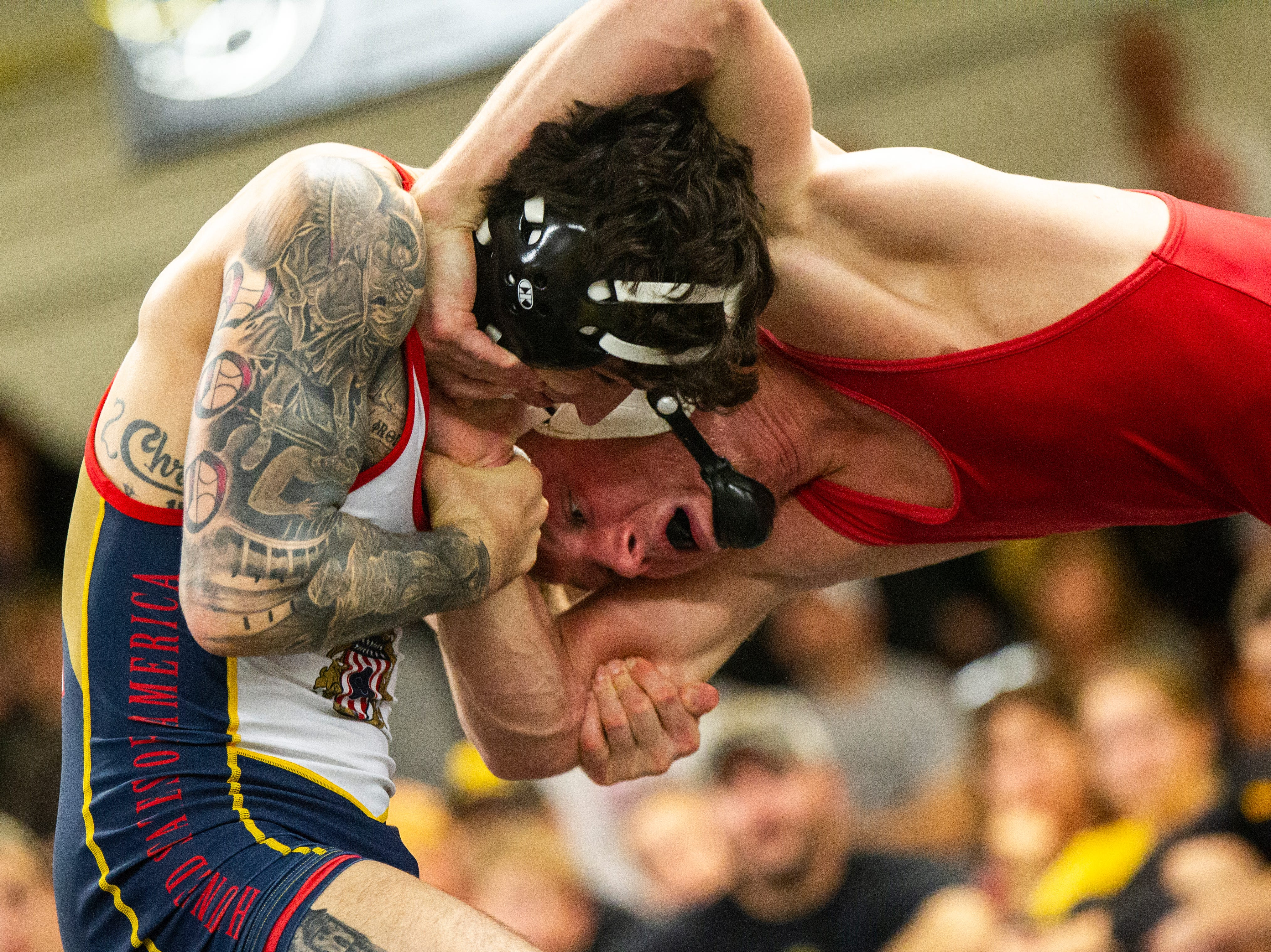 Iowa's Vince Turk (left) and Max Murin wrestle at 141 during the wrestle-offs on Friday, Nov. 2, 2018, inside the Dan Gable Wrestling Complex at Carver-Hawkeye Arena in Iowa City.