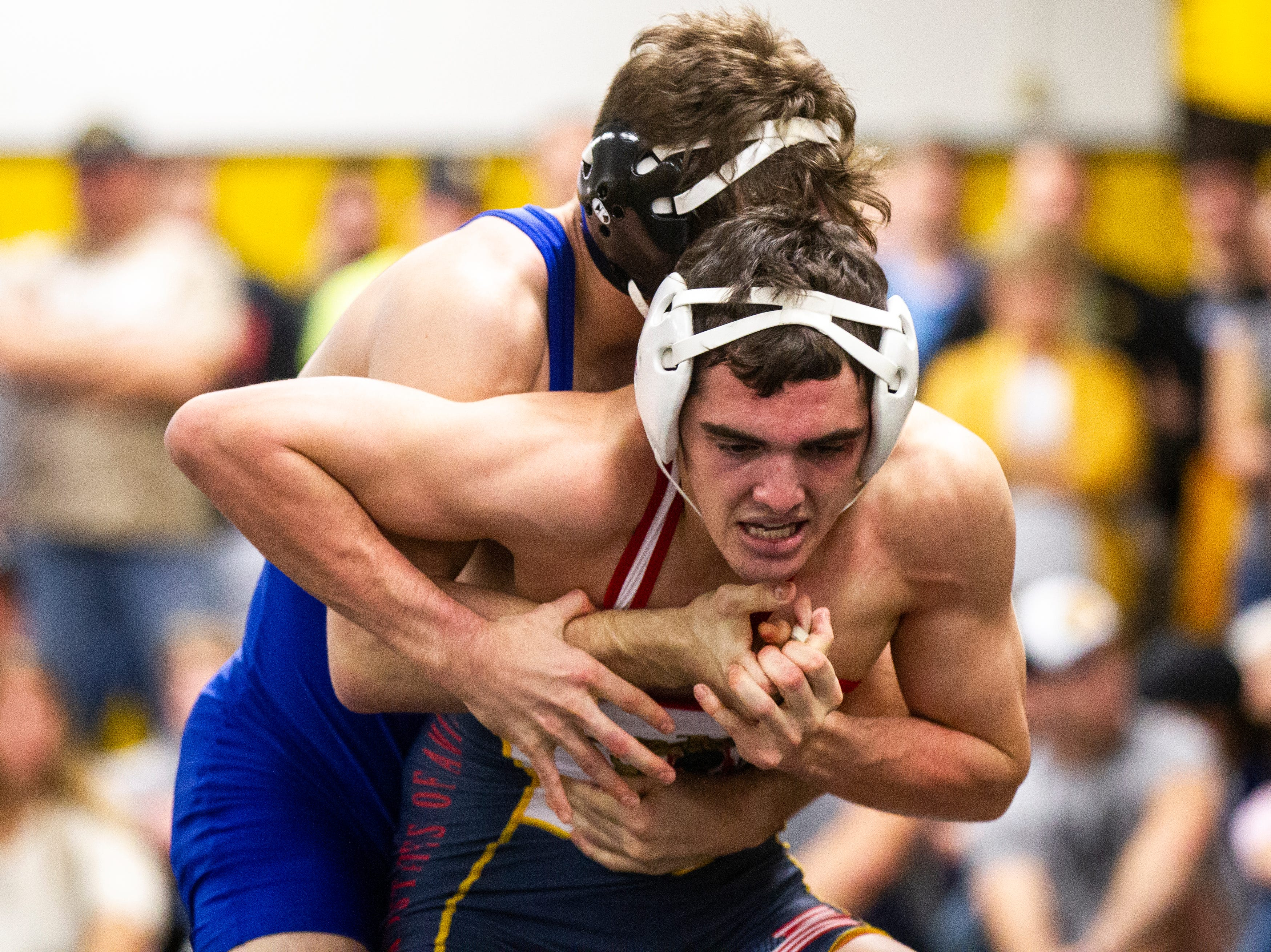 Iowa's Paul Glynn (front) wrestles Austin DeSanto at 133 during the wrestle-offs on Friday, Nov. 2, 2018, inside the Dan Gable Wrestling Complex at Carver-Hawkeye Arena in Iowa City.