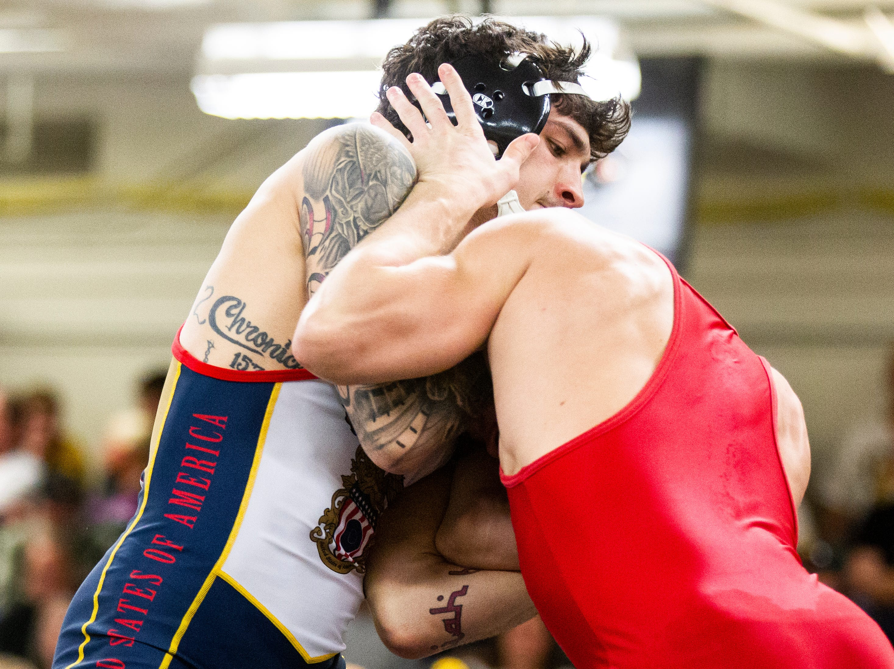 Iowa's Vince Turk (left) wrestles Max Murin at 141 during the wrestle-offs on Friday, Nov. 2, 2018, inside the Dan Gable Wrestling Complex at Carver-Hawkeye Arena in Iowa City.