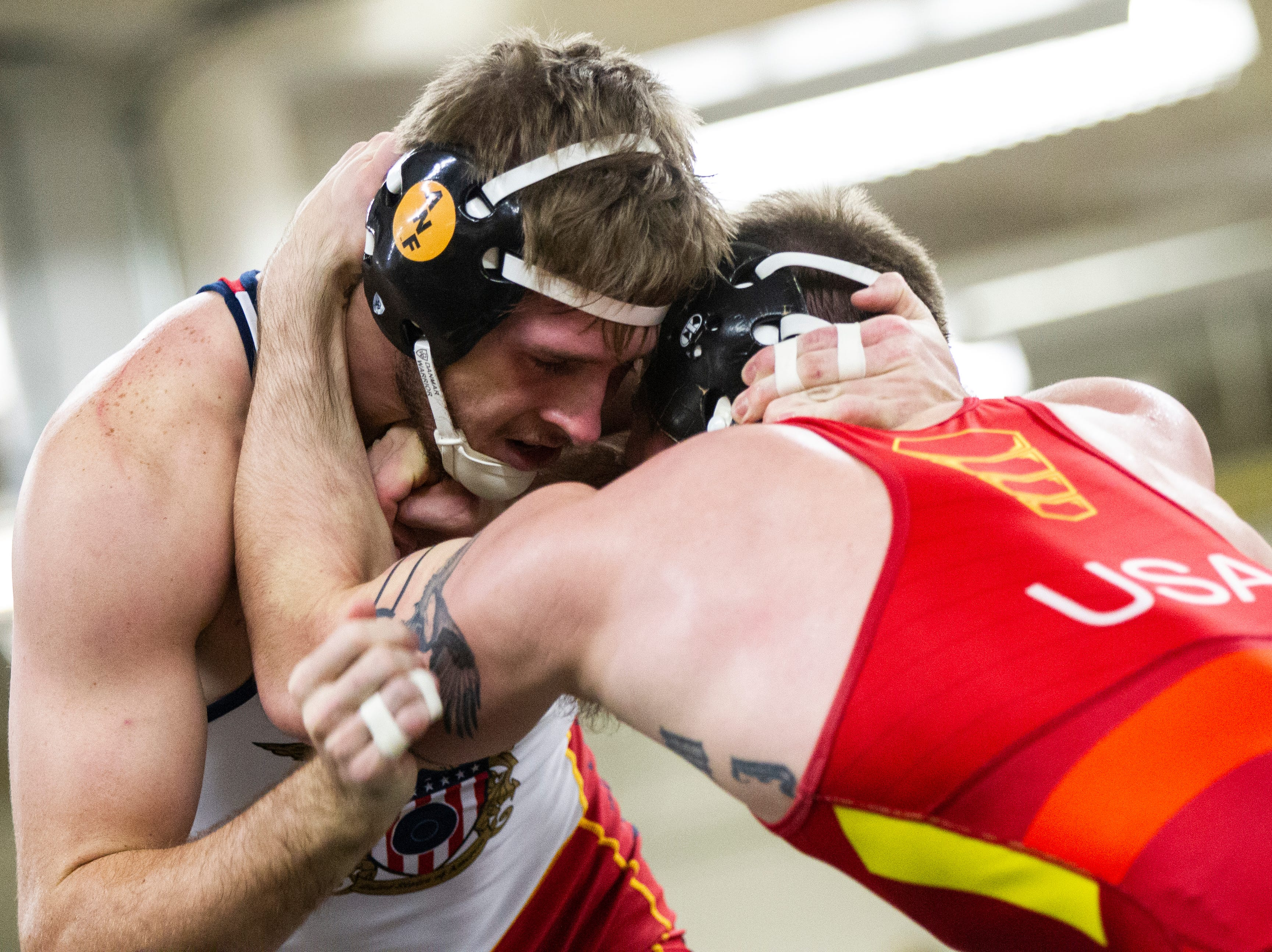 Iowa's Mitch Bowman (left) wrestles Cash Wilcke at 184 during the wrestle-offs on Friday, Nov. 2, 2018, inside the Dan Gable Wrestling Complex at Carver-Hawkeye Arena in Iowa City.