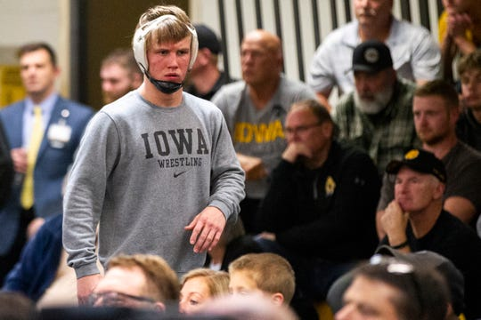 Iowa's Max Murin warms up before a match at 141 during the wrestle-offs on Friday, Nov. 2, 2018, inside the Dan Gable Wrestling Complex at Carver-Hawkeye Arena in Iowa City.