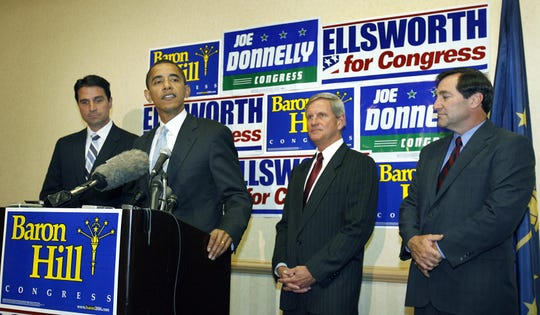 Then-U.S. Senator Barack Obama campaigned for Democratic congressional candidates, left to right, Brad Ellsworth, Baron Hill and Joe Donnelly at the Downtown Indianapolis Westin on October, 16, 2006.