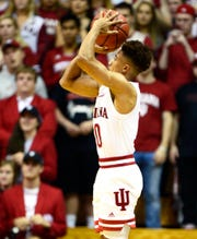 Rob Phinisee puts up a shot during Thursday's exhibition game against Southern Indiana.