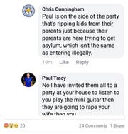 A Facebook profile with the name Paul Tracy sent this comment Tuesday to Indianapolis resident Chris Cunningham.