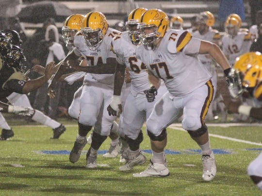 The blocking of Jones offensive linemen (L to R)  Kordel Watts (74), Malcolm Miller (64) and Cru Birdyshaw (77) is one of the reason running back Kalyn Grandberry (not shown) averages .127.2 yards per game.