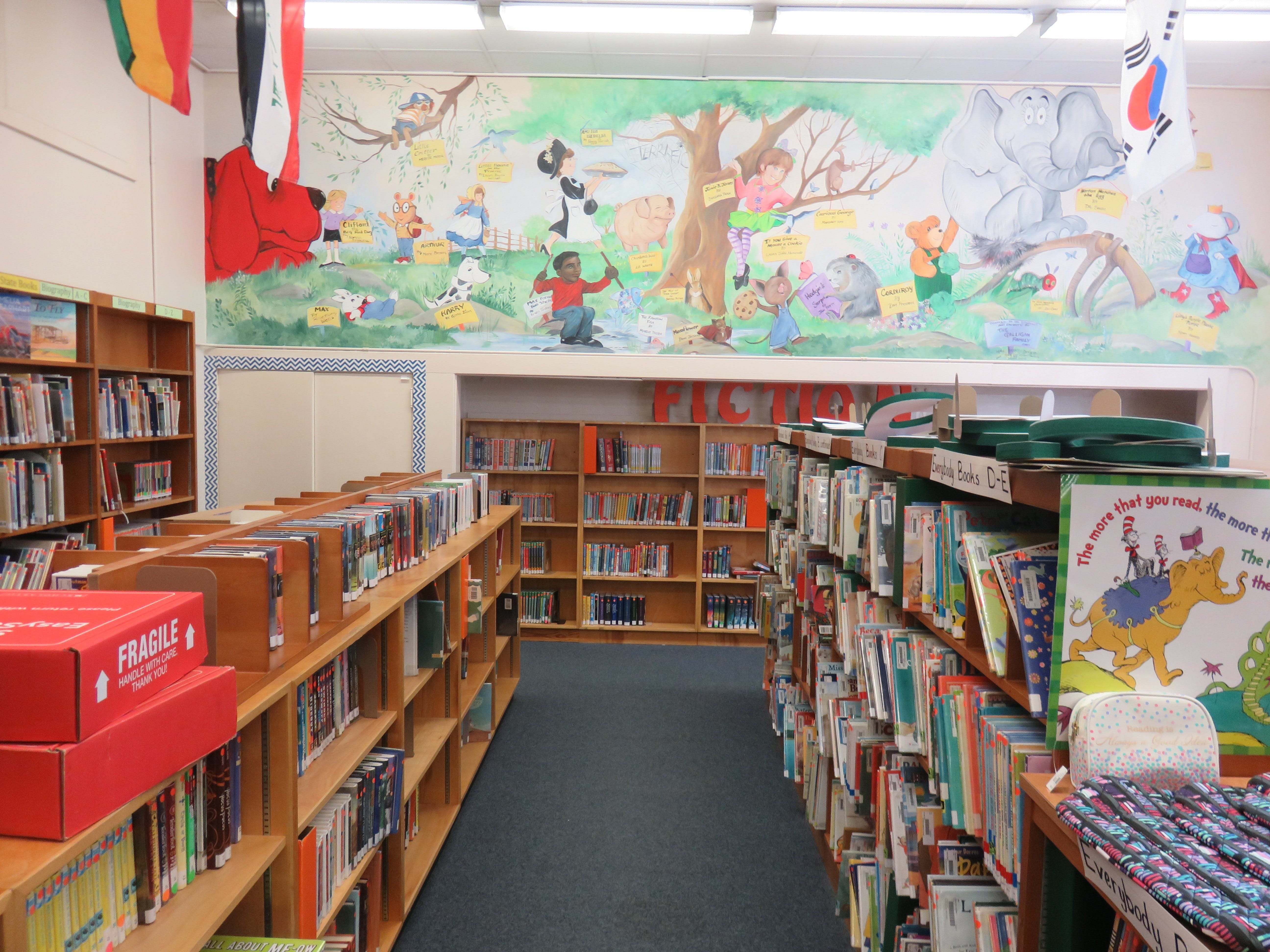 The Bearden Elementary library is brightly decorated.