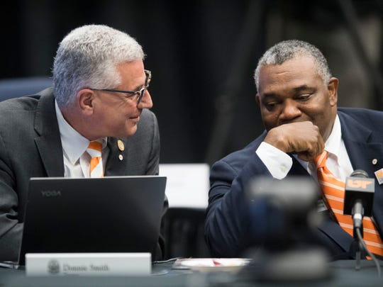 University of Tennessee Trustees Donnie Smith, left, and Decosta Jenkins at the Board of Trustees meeting on Friday, November 2, 2018.