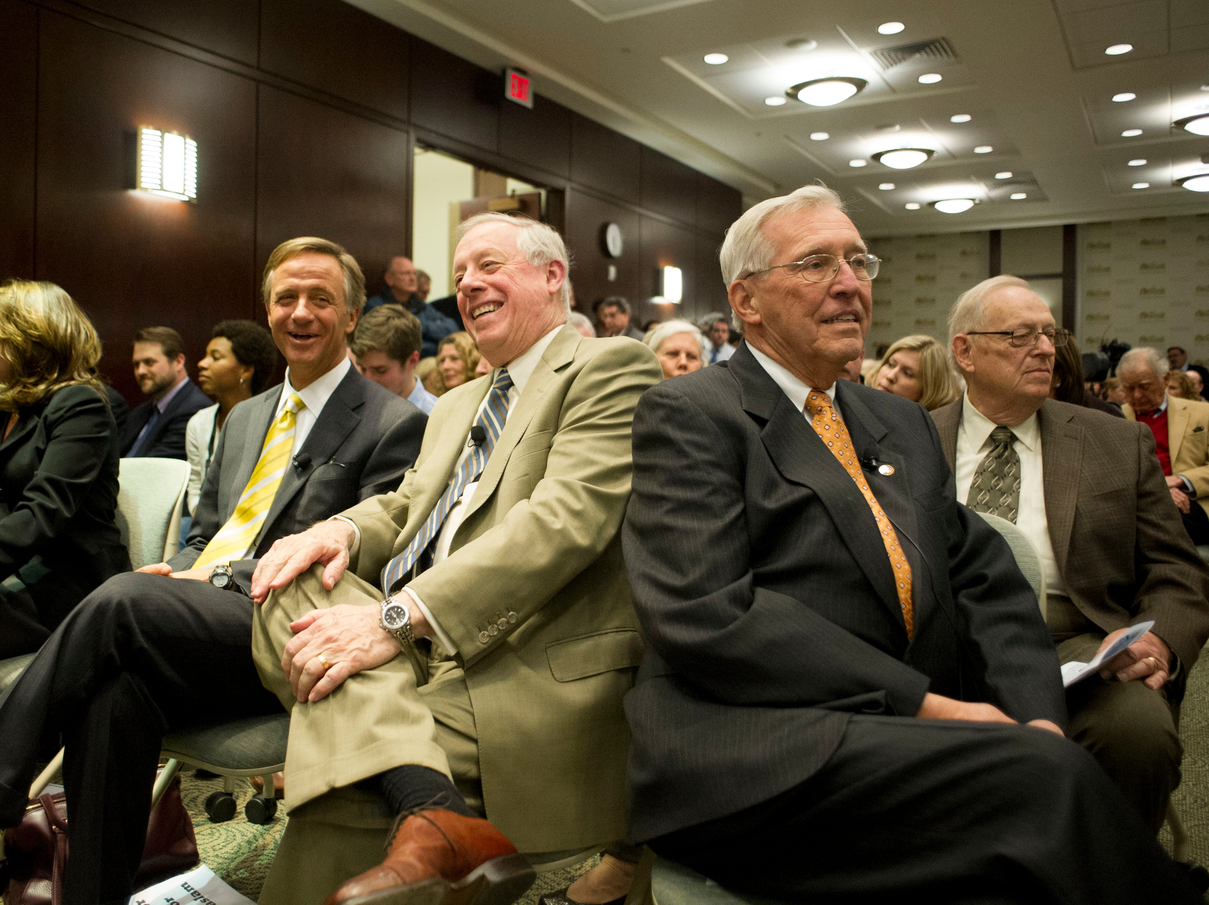 From right, former Tennessee governors Don Sundquist, Phil Bredesen, and current governor Bill Haslam wait together for the start of the event, Civility & Effective Governance at the Howard Baker Center of Public Policy on Thursday, February 21, 2013. The three gathered together in for the event to talk about civility in government.