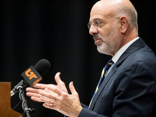 University of Tennessee President Joe DiPietro in his final address to the Board of Trustees as president on Friday, November 2, 2018.