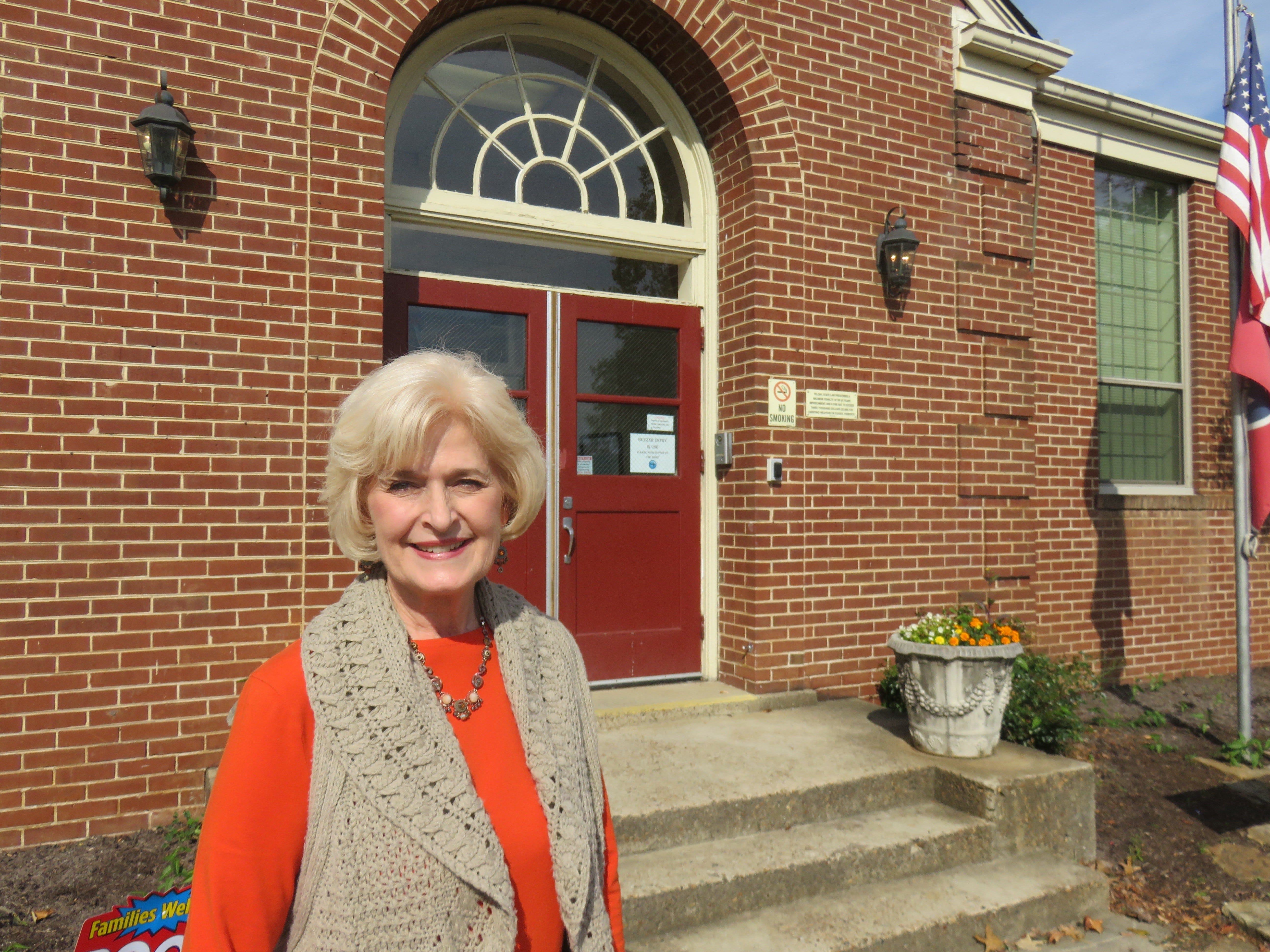 Principal Susan Dunlap outside Bearden Elementary on Oct. 31. The school is planning an 80th anniversary celebration on Nov. 15, 2018.