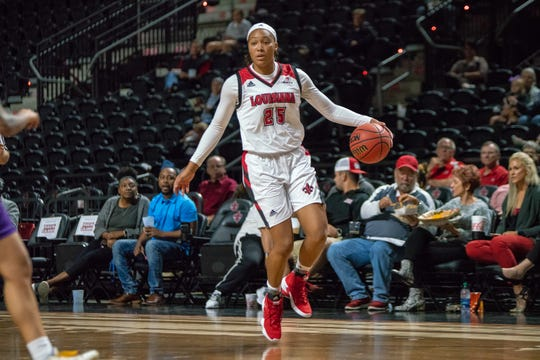 UL freshman forward Jazmyn Womack controls the ball during her 10-point, 8-rebound performance in 28 minutes in Thursday's 89-57 exhibition win over LSU-Shreveport.