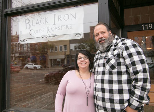 Black Iron Coffee Roasters owner Kevin Ridge and his wife Darcie, shown Friday, Nov. 2, 2018, have opened their first brick-and-mortar coffee shop in downtown Howell.