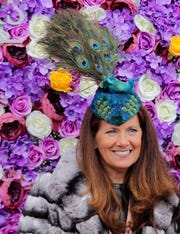 Cindy Kelsey Payne is wearing a Arturo Rios hat at Breeders' Cup in Louisville.  Nov. 2, 2018