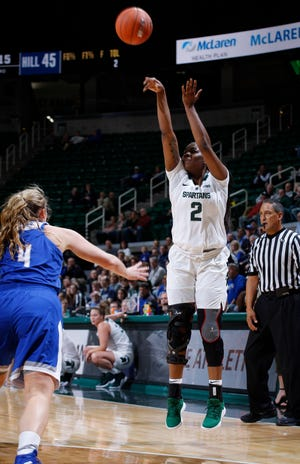 Michigan State's Mardrekia Cook, shown against Hillsdale earlier this month, was one of five Spartans in double figures in their win over East Tennessee State on Sunday.