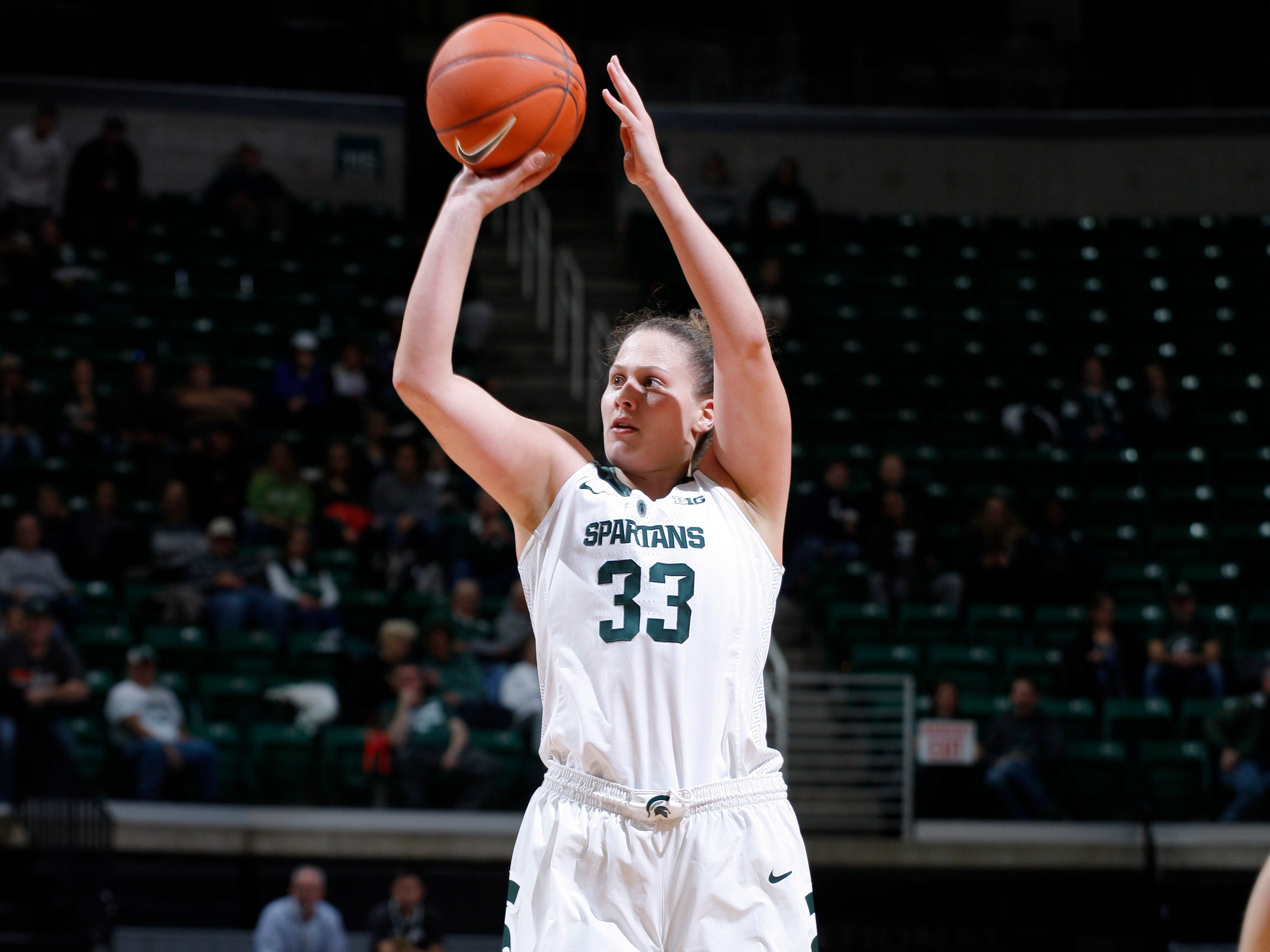 Michigan State's Jenna Allen shoots against Hillsdale, Thursday, Nov. 1, 2018, in East Lansing, Mich.