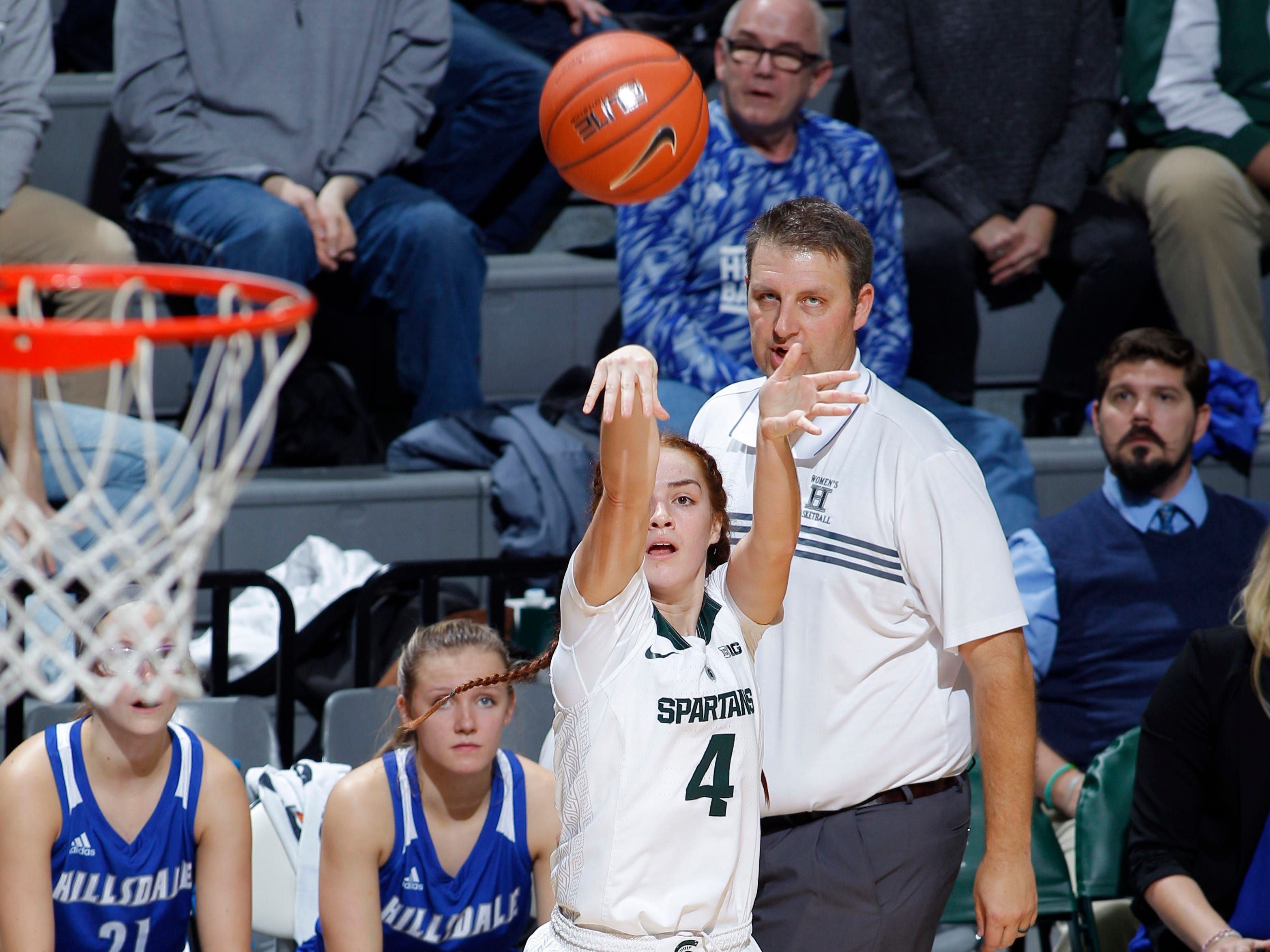 Michigan State's Taryn McCutcheon shoots a 3-pointer against Hillsdale, Thursday, Nov. 1, 2018, in East Lansing, Mich.