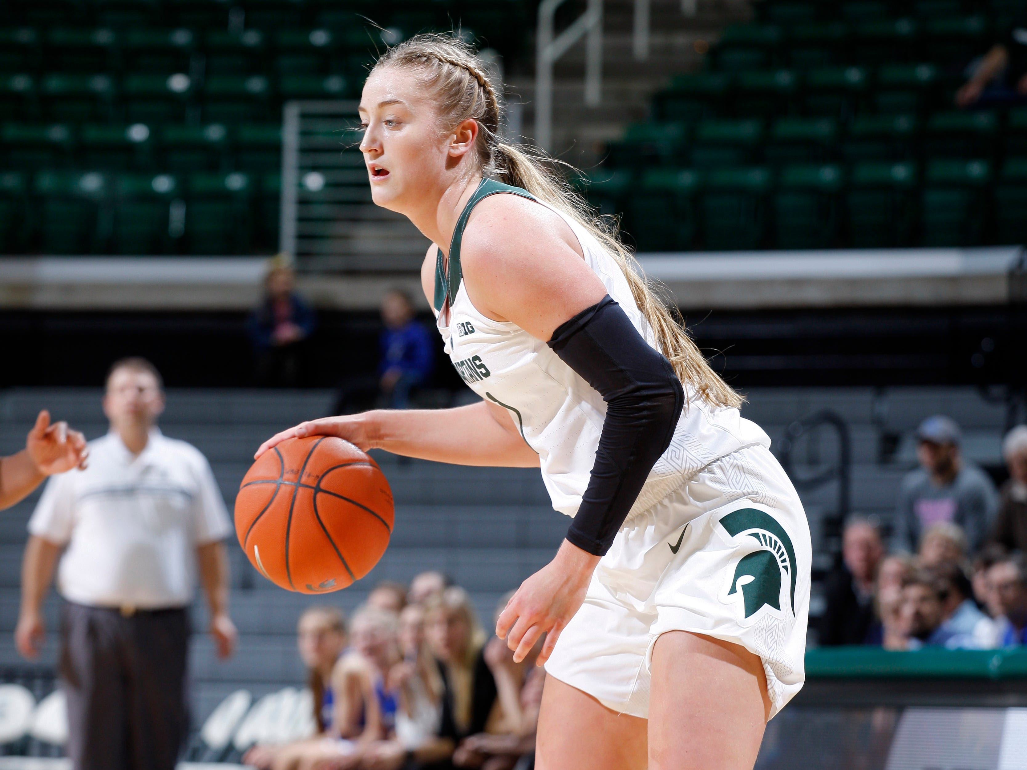 Michigan State's Tory Ozment is shown against Hillsdale, Thursday, Nov. 1, 2018, in East Lansing, Mich.