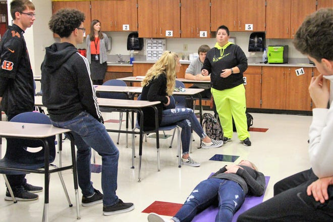 Coach Rose Cunningham teaches an exercise science class at Harding High School on Wednesday. Around 50 percent of seniors at Marion City Schools are at risk of not graduating as schools across the state grapple with new graduation requirements.