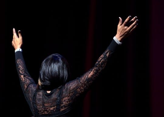 Director Patrina Smith led The Associates choir during a tribute performance to O'Landa Draper Medley at the 2018 Memphis Music Hall of Fame Induction Ceremony Thursday November 1 at the Cannon Center For The Performing Arts.