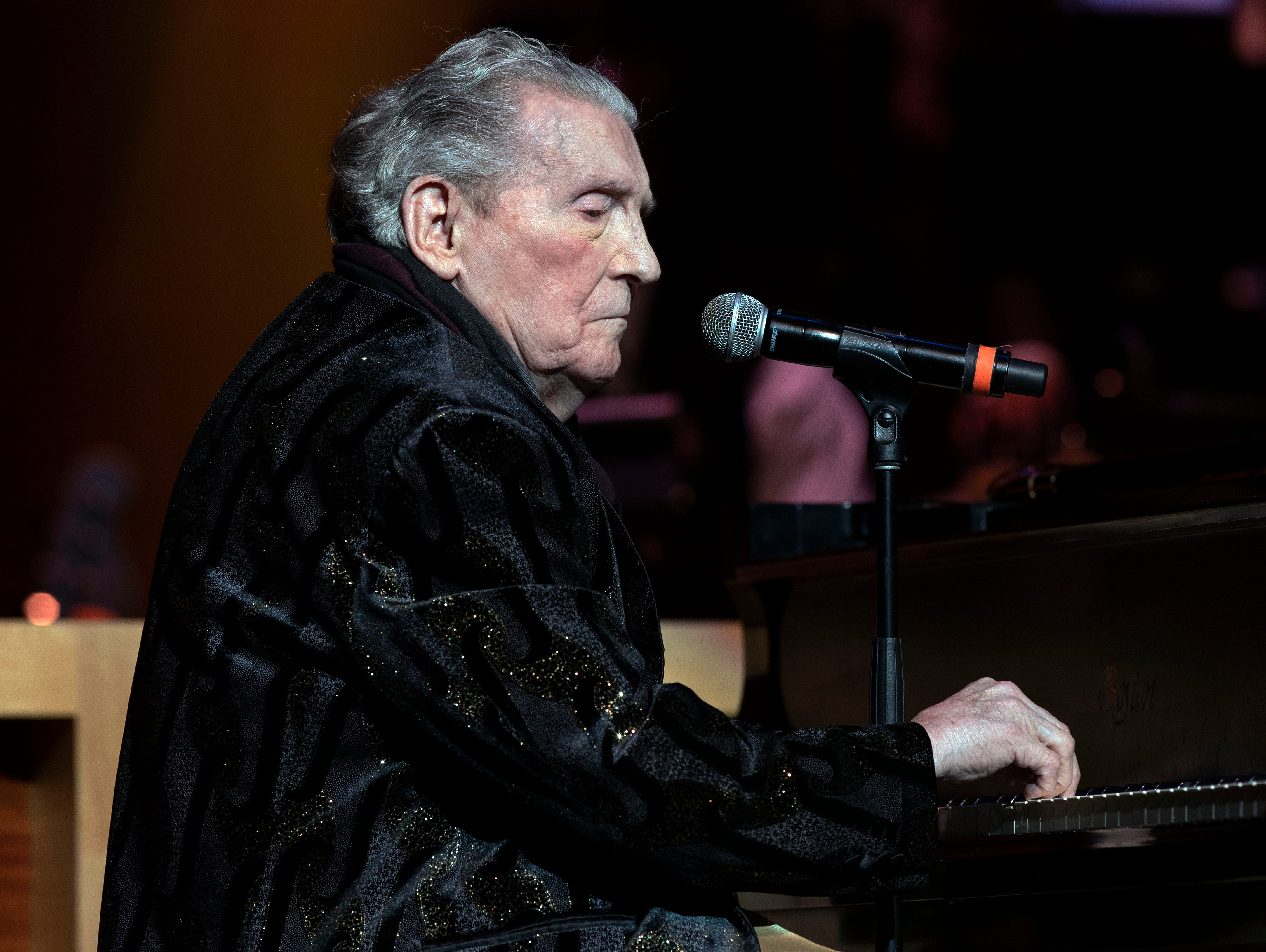 "Jerry Lee Lewis performs ""Great Balls of Fire"" at the 2018 Memphis Music Hall of Fame Induction Ceremony Thursday November 1 at the Cannon Center For The Performing Arts."