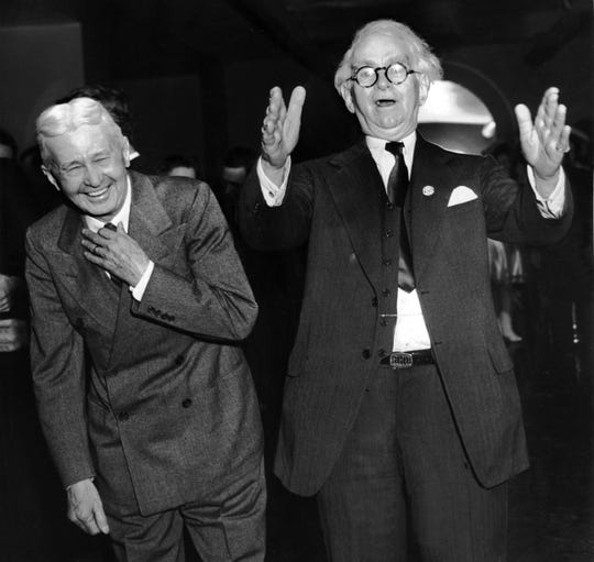 E. H. Crump, right, on election night in November 1944. At left is E.W. Hale.