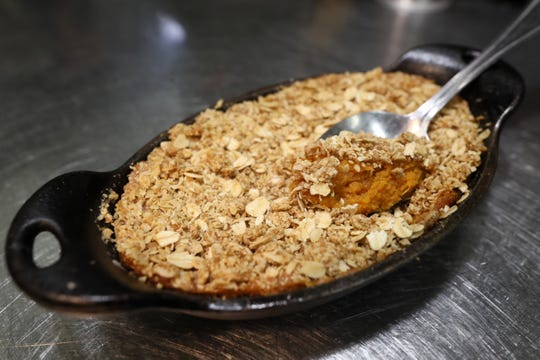 Sweet potato casserole at Felicia Suzanne's Restaurant downtown Memphis. The restaurant is prepping meals for their Operation Turkey Day, allowing customers to skip holiday meal creation in favor of a restaurant spread.