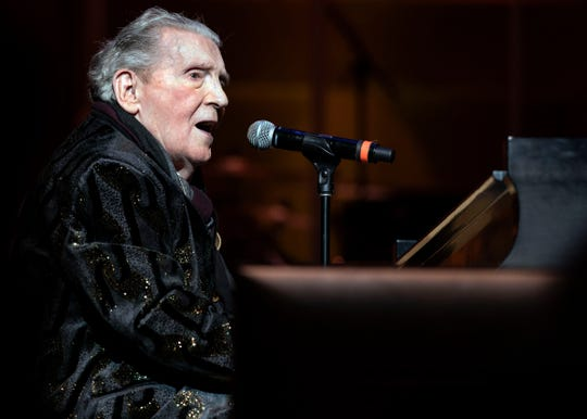 Jerry Lee Lewis, seen performing at the 2018 Memphis Music Hall of Fame ceremonies, is recovering from a recent stroke.