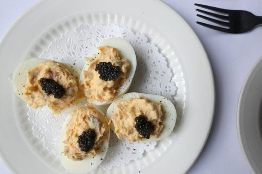 Felicia Suzanne's Restaurant's famous smoked salmon deviled eggs.