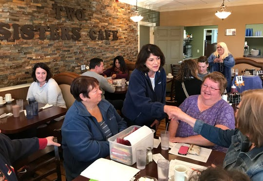 Republican U.S. Senate candidate Leah Vukmir meets supporters Friday at Two Sisters Cafe in Watertown.