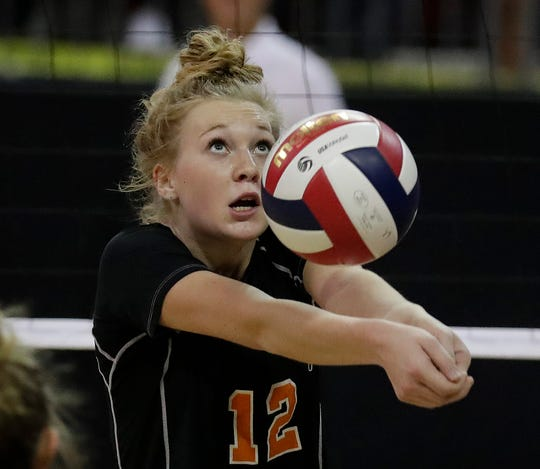 Burlington's Kaley Blake bumps the ball against Kimberly during the WIAA Girls State Volleyball Tournament Thursday, November 1, 2018 at the Resch Center in Ashwaubenon, Wis.