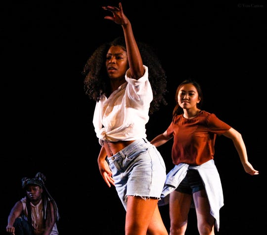 Virgillette Adams dances with Tina Yang (right) and Chancie Cole (left). Adams recently won a video challenge from R&B singer Chaka Khan.