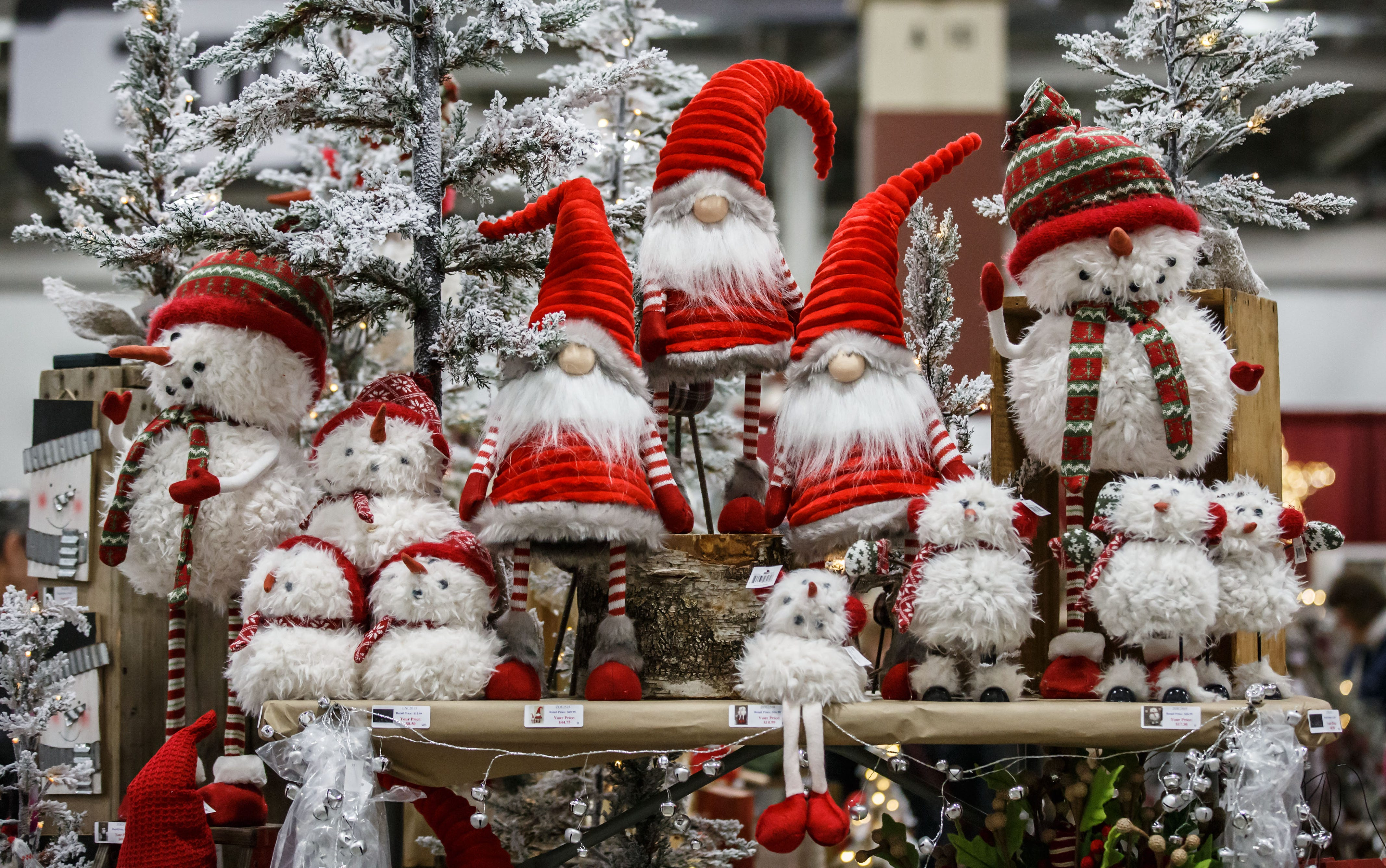 Fun and quirky holiday decorations from Bright Ideas in Beaver Dam tempt passing shoppers during the Milwaukee Holiday Boutique at Wisconsin State Fair Park on Friday, Nov. 2, 2018. The event features over 200 vendors, pictures with Santa, live entertainment and much more.