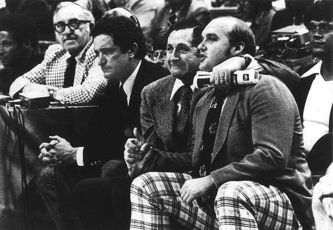 Marquette coaches Al McGuire, Hank Raymonds and Rick Majerus have differing emotions during the final seconds of the 1977 NCAA championship game.