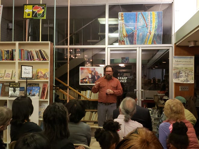 """Foster Dickson, author of """"Closed Ranks"""", speaks at his book release  event"""