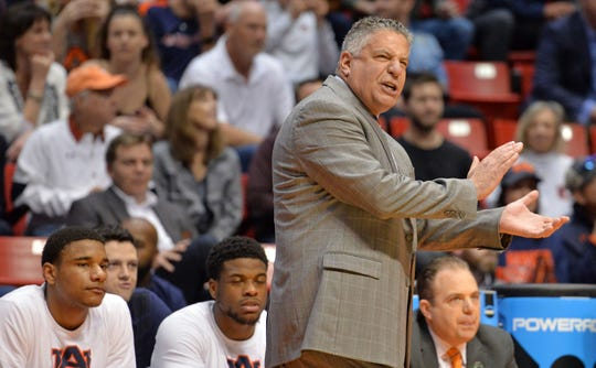 Auburn head coach Bruce Pearl reacts during the first half against Clemson in the second round of the 2018 NCAA Tournament at Viejas Arenaon March 18, 2018, in San Diego, Calif.