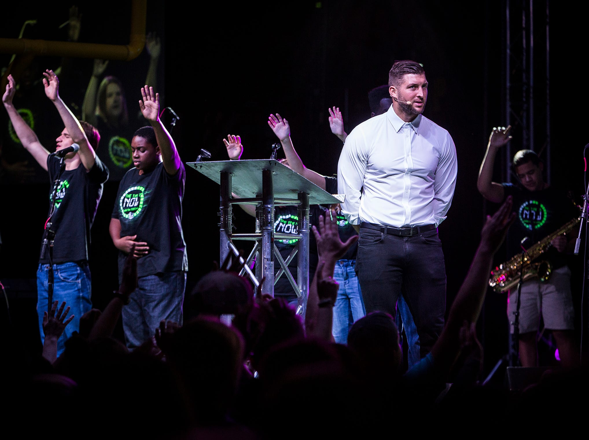 Thousands attended the tenth annual Fields of Faith event at Worthen Arena where former NFL player and current minor league baseball player Tim Tebow spoke about his faith to FCA members.