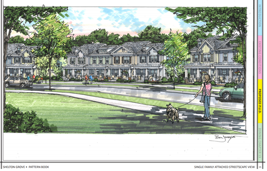 This rendering for the proposed 213-home Shelton Grove subdivision shows what some of the 118 town homes will resemble. Plan also includes 95 houses.